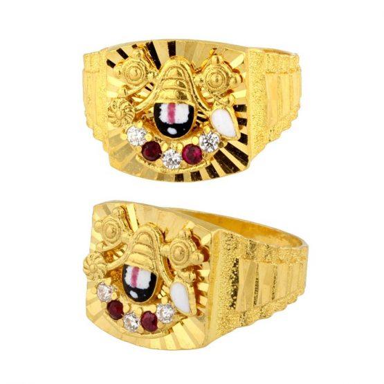 22ct Yellow Gold & CZ Stones Men's Ring – Lord Balaji Design 02
