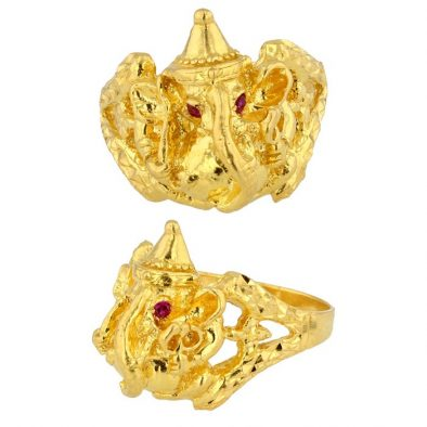 22ct Yellow Gold Men's Ring – Lord Ganesha Engraved Design With CZ Stones 02