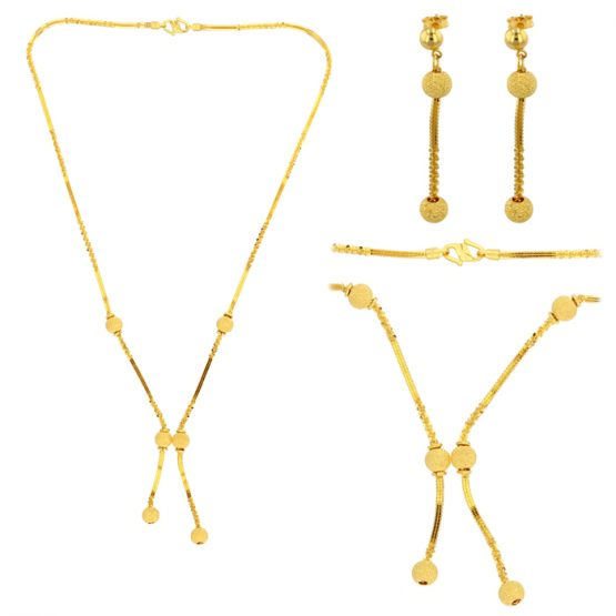 22ct Yellow Gold Necklace & Earring Set 02