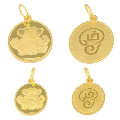 22ct Yellow Gold Pendant – Tamil OM / Lord Ganesha Coin Design Bundle 01