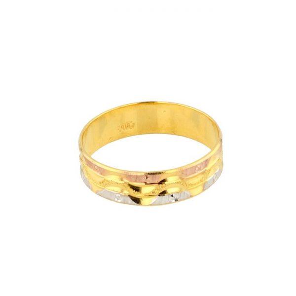 22ct Yellow Gold Men's Ring - Wedding Band / Tricolour (Rose, Yellow, Rhodium) 01