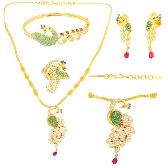 22ct Yellow Gold & CZ Stones Necklace, Earrings, Bangle, Ring - Peacock Design Wedding Set 01