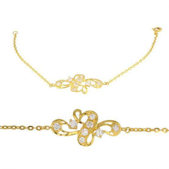 Ladies Bracelet Fancy Design 22ct Yellow Gold with CZ Stone 05