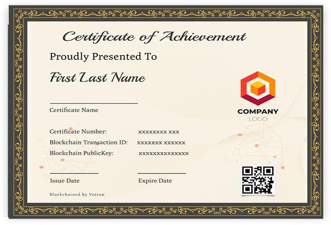 Vottun provides you with blockchain certificates