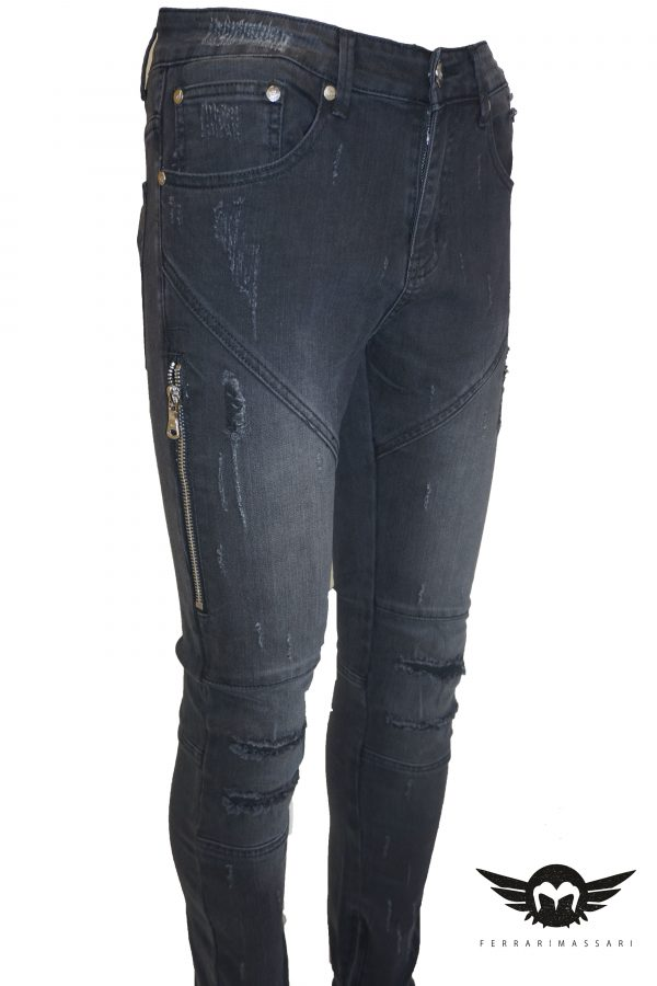 THE DISTRESSED BIKER DRIP BLACK