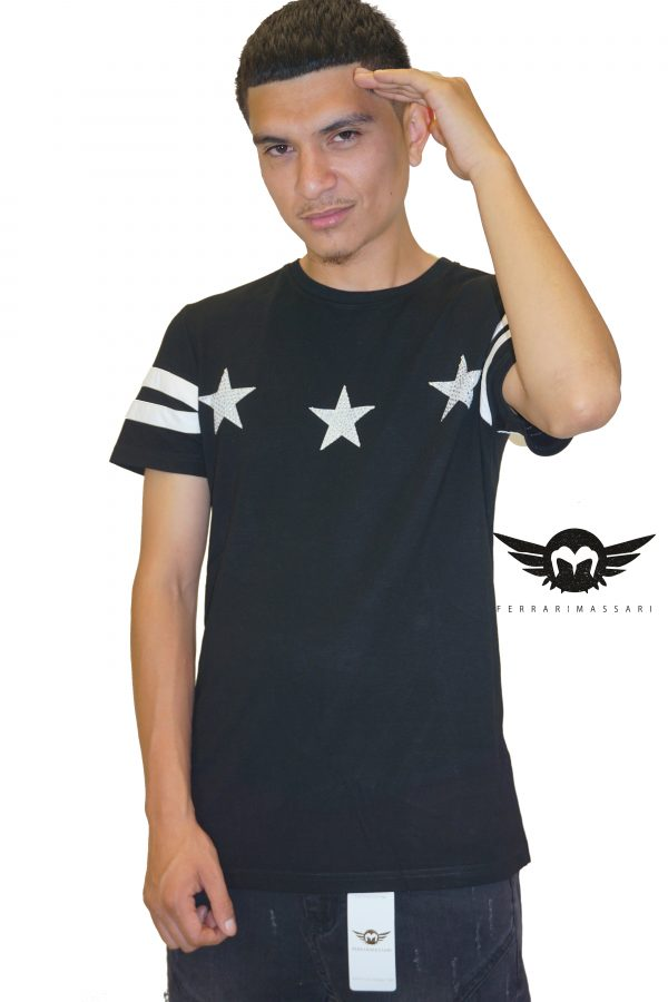 THE THREE STAR HUSTLER TEE BLACK