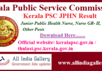 Kerala PSC Junior Public Health Nurse Result