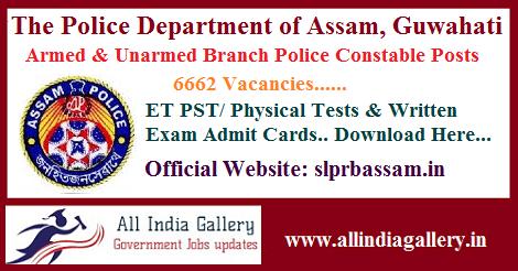 Assam Police AB UB Constable Admit Card 2020