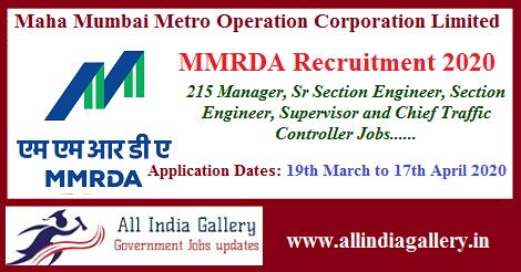 MMRDA Section Engineer Recruitment 2020