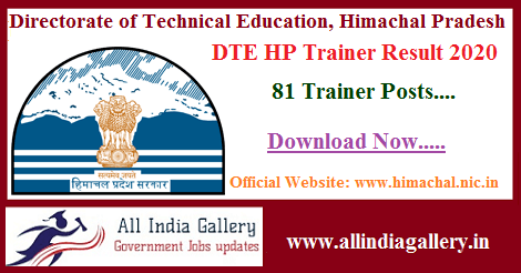 DTE HP Trainer Result 2020