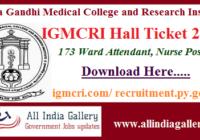 IGMCRI Ward Attendant Hall Ticket 2020