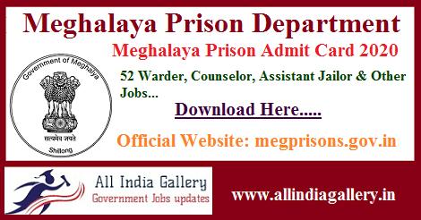 Meghalaya Prison Admit Card 2020