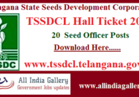 TSSDCL Seed Officer Hall Ticket 2020