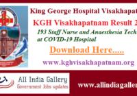 KGH Visakhapatnam Staff Nurse Result 2020