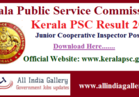 Kerala PSC Junior Cooperative Inspector Result 2020