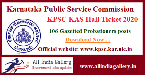 KPSC KAS Hall Ticket 2020