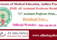 DME AP Assistant Professor Result 2020