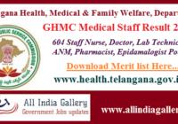 GHMC Staff Nurse Result 2020