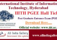 IIITH PGEE Hall Ticket