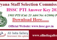 HSSC PTI Answer Key 2020