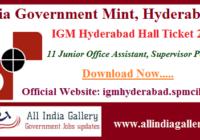 IGM Hyderabad Junior Office Assistant Hall Ticket 2020