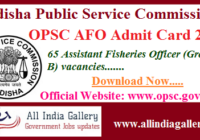 OPSC AFO Admit Card 2020