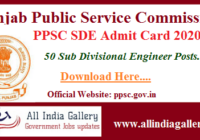 PPSC Sub Divisional Engineer Admit Card 2020