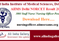 AIIMS Delhi Staff Nurse Result 2020