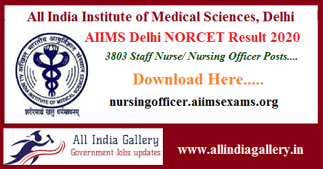 AIIMS Delhi Staff Nurse Result 2020