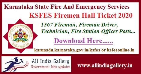 KSFES Firemen Hall Ticket 2020