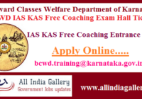 BCWD IAS KAS Free Coaching Exam Hall Ticket