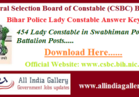 Bihar Police Lady Constable Answer Key 2020