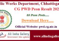 CG PWD Peon Result 2020