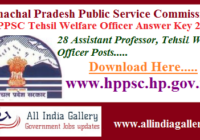 HPPSC Tehsil Welfare Officer Answer Key 2020