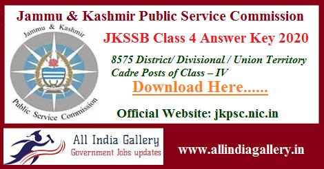 JKSSB Class 4 Answer Key 2020