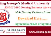 KGMU MSC Nursing Entrance Answer Key