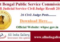 WB Judicial Service Civil Judge Result 2020