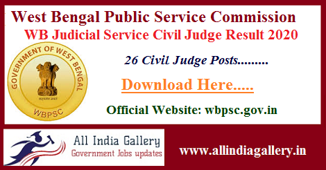 WB Judicial Service Civil Judge Result 2020