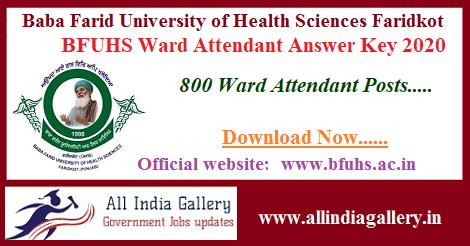 BFUHS Ward Attendant Answer Key 2020