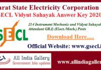 GSECL Vidyut Sahayak Answer Key 2020