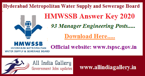 HMWSSB Manager Answer Key 2020
