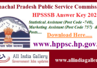HPSSSB Statistical Marketing Assistant Answer Key 2020