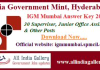 IGM Mumbai Junior Office Assistant Answer Key 2020