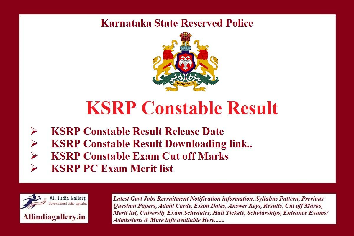 KSRP Constable Result
