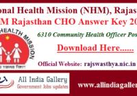 NHM Rajasthan CHO Answer Key 2020