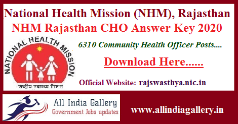 NHM Rajasthan CHO Answer Key 2020
