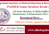 PGIMER Senior Resident Result 2020