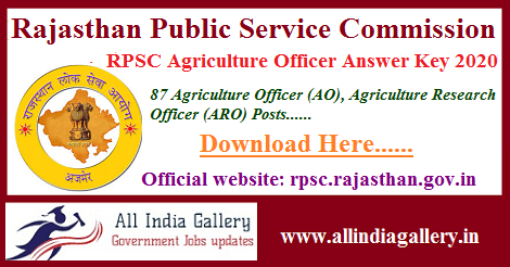 RPSC Agriculture Officer Answer Key 2020