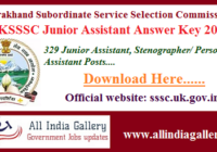 UKSSSC Junior Assistant Answer Key 2020