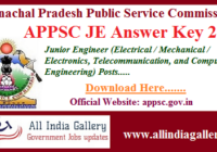 Arunachal Pradesh PSC JE Answer Key 2020